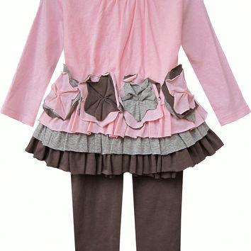 Isobella & Chloe Sweet Pea Pink and Brown 2 piece Tunic Tulle Set