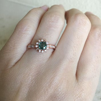 Sapphire Promise Ring- Engagement Ring- Green Sapphire Ring- Wedding Ring- Halo Ring- Rose Gold Ring- Bridal Ring- September Birthstone Ring