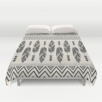 Tribal Feathers-Black & Cream Duvet Cover by Bohemian Gypsy Jane