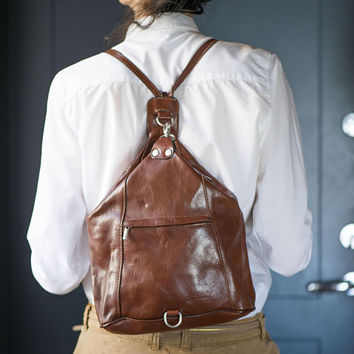 Tan genuine leather backpack vintage. Shoulder Backpack for women. 90s Backpack minimalist for girl. Women Backpack city bag long handles.
