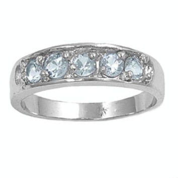Sterling Silver Baby Blue Topaz CZ Five Stones Ring Size 1-5