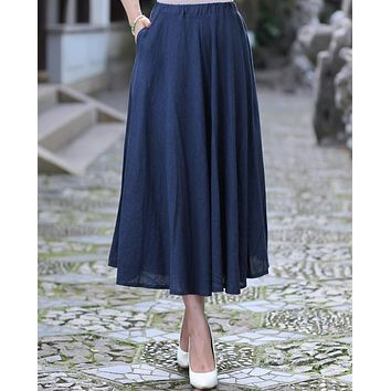 Women Summer Casual Cotton Linen Long Skirt Ladies' Pleated Skirt Vintage Navy Blue Flared Skirts S M L XL XXL 2522-1