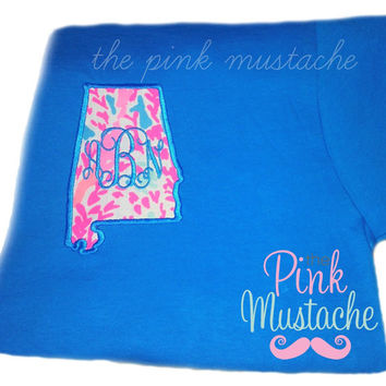 Lilly Pulitzer Monogrammed State Applique Shirts / Short Sleeved / Long Sleeved / Tank Tops
