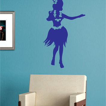 Hula Girl Hawaiian Design Decal Sticker Wall Vinyl Decor Art