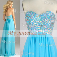 A Line Beads Crystal Blue Chiffon Prom Dress, Wedding Dresses,Party Dress, Evening Gown