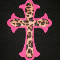 ANIMAL PRINT & PINK Wall Cross - hand painted wood cross in pink with cheetah print eco felt