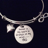 Forever in My Heart Always On My Mind Silver Expandable Charm Bracelet Adjustable Wire Bangle Gift