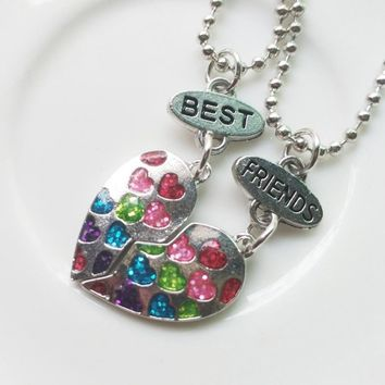 Gold Silver Half Friends Jewelry Half Gift For Necklaces Heart Shape BFF necklaces Rhinestone Best Friends Pendant
