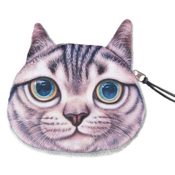 Gray Shorthair Coin Purse
