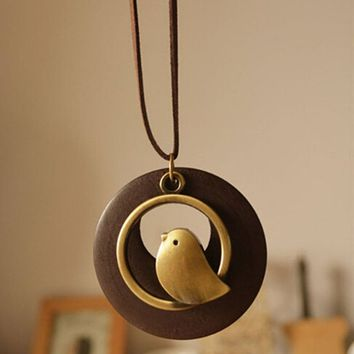 Womens Statement Necklaces & Pendants, Bird Wooden Bead Pendant Necklace