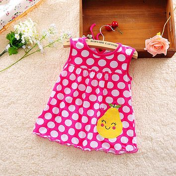 Baby Girl Dress Real Knee-length Beach 2017 New Summer Baby Cotton Vest Dress Princess 0-2 Years Old Children Leisure Clothing