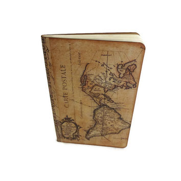 Travel Journal Notebook,  World Maps Journal, Cahier Moleskine, Atlas Journal, Geography Journal, Wanderlust,  New World / Old World Journal