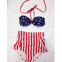 Summer Retro High Waist Swimsuit (Navy blue & Red Top and White/Red Stripped Bottom Vintage Swimwear) S, M, L,