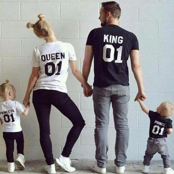 KING QUEEN Prince Princess 01 Letter T-Shirt Men/women Children's t shirt Hipster Clothes Cotton top tee Family Matching Outfits
