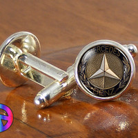 Mens Fashion Mercedes Benz Silver Cufflinks Cuff Links Car Accessories