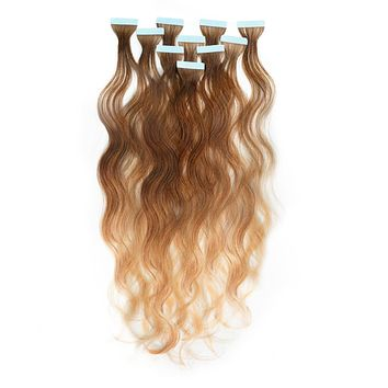 Wavy Ombré Tape-In Hair Extensions - Caramel Brown (#4) to Honey Blonde (#27)