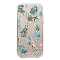 Juicy Blue Flame Pineapple Soft Silicon Phone Cover Clear Thin Case For Apple iPhone 6 6Plus