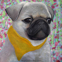 """Pug No3.  Dog Portrait Oil Painting by beart24, 17.5""""x17.5"""" , Oil Painting on Canvas Traditional Animal Art"""
