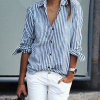 Blue Lapel Vertical Striped Blouse -SheIn(Sheinside)