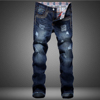 Strong Character Ripped Holes Men's Fashion Cotton Denim Pants Jeans [6541753283]