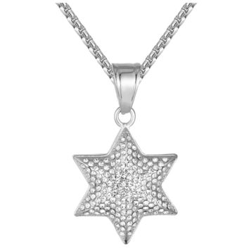 "Stainless Steel Six Point Star 3D Apopo Iced Out Pendant 24"" Chain"