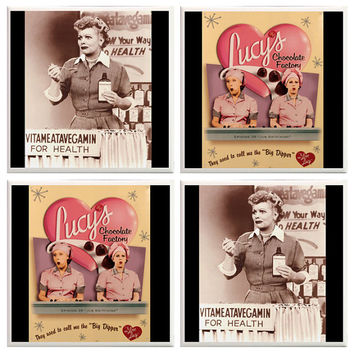 I love Lucy Coasters, Lucille Ball, Lucy and ethel, Classic tv show, comedy, chocolate factory, Vitameatavegamin, job switching, I love lucy