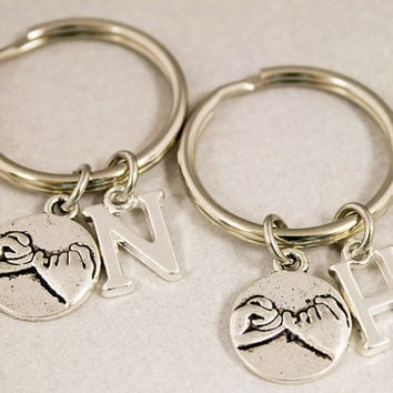 Two Best Friend Key Chains - Pinky Promise Charm Key Chains - Pinky Swear Monogram Keychain - Custom Alphabet Charm - Best Friend Gift