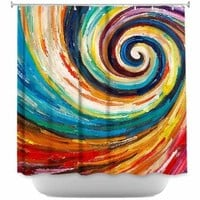 Shower Curtain Artistic Designer from DiaNoche Designs by Lam Fuk Tim Stylish, Decorative, Unique, Cool, Fun, Funky Bathroom - Spiral II