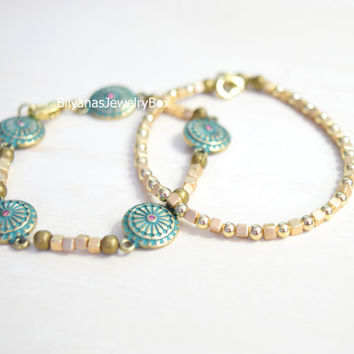 Gold Cube Bracelets Turquoise And Gold Jewelry Boho Bracelet Set Of Two Bracelets Turquoise Bracelet Gold Bracelet