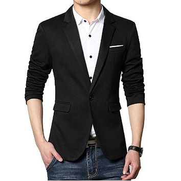 Mens Classic Black Single Button Blazer