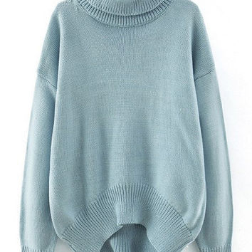 Blue Turtleneck High-Low Sweater