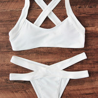 Cross Back Side Cutout Bikini Set -SheIn(Sheinside)