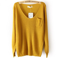 DEEP V COLLAR SWEATER FOR GIRLS