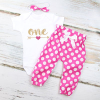 Baby Girls 1st Birthday Outfit | Hot Pink w/ White Polka Dot High Waisted Pants Outfit and Knotted Headband | Gold Arrow w/ Pink Heart