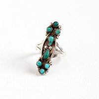 Vintage Sterling Silver Turquoise Ring - Size 5 1/2 Retro Southwestern Native American Style Boho Green Blue Gem Round Teardrop Jewelry