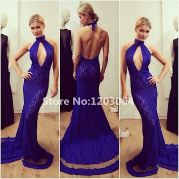 2016 Halter Neck Sleeveless Mermaid Dress High Quality Royal Blue Prom Dresses Unique Robe De Soiree Kaftan Backless Prom Dress