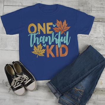 Kids Thankful T Shirt One Thankful Kid Shirts Thanksgiving Fall Tshirt Give Thanks Toddler Baby Youth