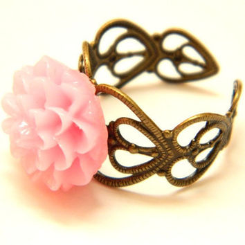 Dahlia Ring Light Pink Antique Filigree by PushTheButtons on Etsy