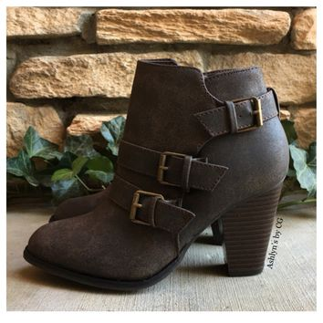 """""""Style and Flare"""" Always Faithful Chocolate Brown Heel Bootie Boots"""