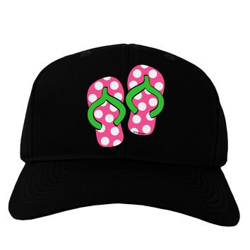 Cute Polka Dot Flip Flops - Pink and Green Adult Dark Baseball Cap Hat
