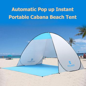 Outdoor Automatic Pop Up Instant Portable Cabana Beach Tent 2 Person Fishing Anti UV Beach Sunshade Shelter Sets Up In Seconds