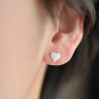 Fashion silver hearts earring