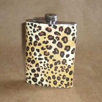 Leopard Print Girl Gift Stainless Steel Hip Flask by kryan2designs