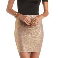 Gold Shimmer Bodycon Mini Skirt by Charlotte Russe - Gold