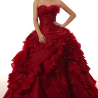Organza Ruffle Strapless Ball Gown