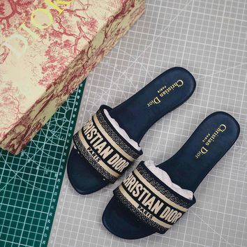 Christian Dior Dway Embroidered Cotton Mule Sandals Blue - Best Online Sale