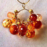 Handmade Wire Wrapped Pendant Briolette Beaded Autumn Pendant - Fall colored jewelry - Autumn Jewelry - Ombre Orange - OOAK