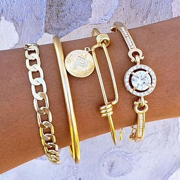 Initial Bangle Crystal Bracelet Set