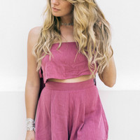 Rising Above Berry Off The Shoulder Top And Short Set