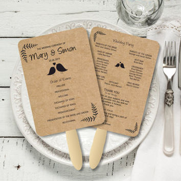 EDITABLE Wedding Fan Program, Rustic Kraft Birdie Foldable Wedding Program, Download Instantly wedding program template, digital PDF, DIY